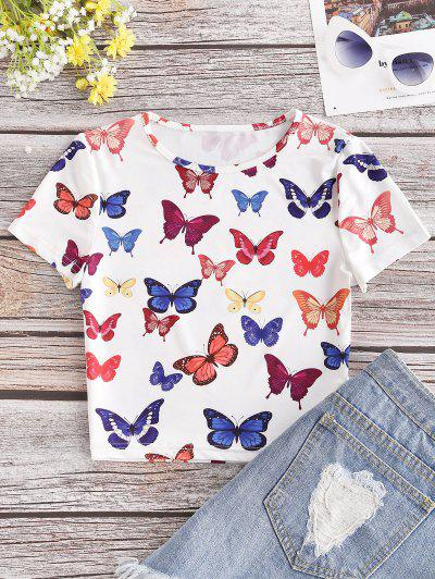 Colored Butterfly Print Crop Tee - White S