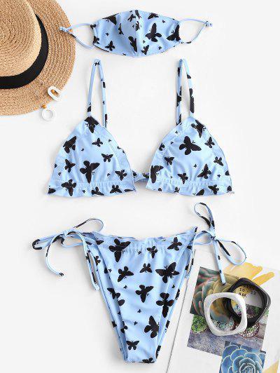 ZAFUL Butterfly Print String Trikini Swimwear - Blue L
