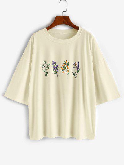 Camisola Mangas Compridas De Ombros Caido Com Impresso De Flor - Luz Amarela M