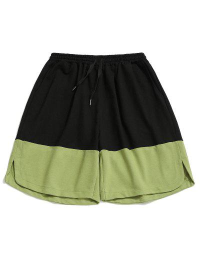 Drawstring Side Slit Contrast Sweat Shorts - Avocado Green L