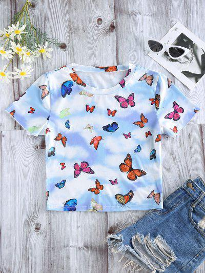 ZAFUL Butterfly Cloud Print Short Sleeve T-shirt - Light Blue S
