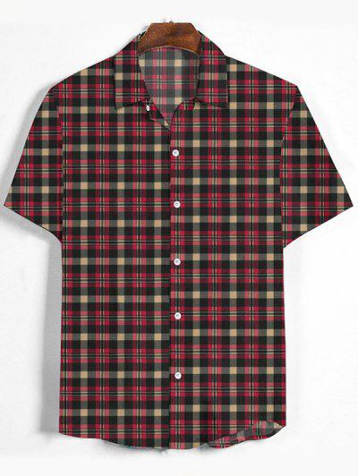 Plaid Printed Button Down Shirt - Cherry Red L