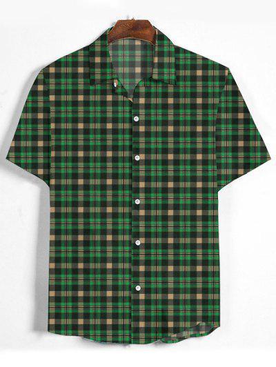 Plaid Printed Button Down Shirt - Medium Forest Green Xl