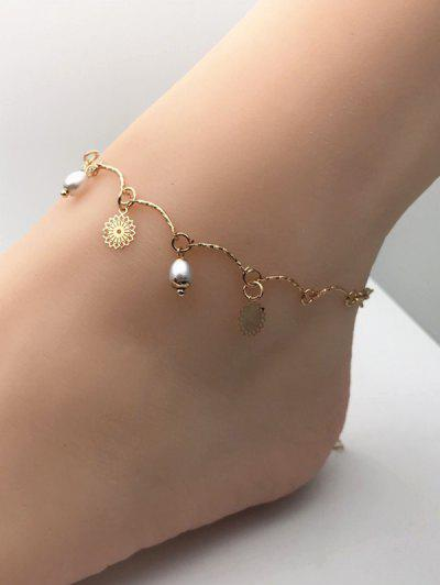 Faux Pearl Flower Charm Chain Anklets - Golden
