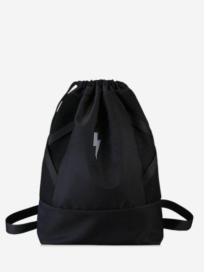 Lightning Graphic Cinch Sack Backpack - Black