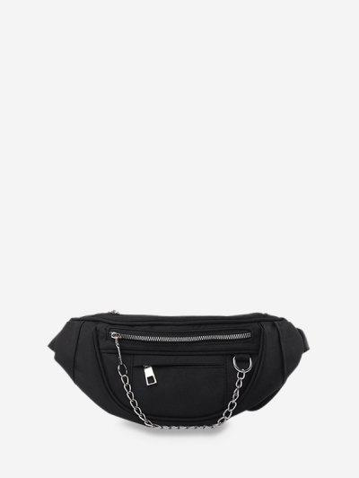 Chain Zipper Crossbody Chest Bag - Black