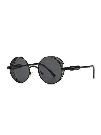 Hollow Out Frame Round Sunglasses - Black