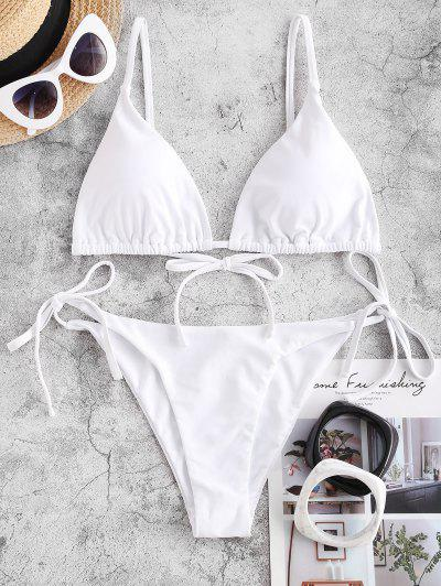 ZAFUL Tie String Bikini Swimsuit - White S