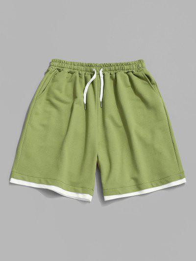 Drawstring Contrast Layered Sweat Shorts - Salad Green Xl