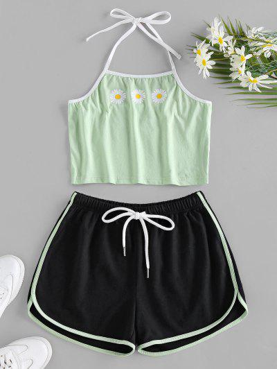 ZAFUL Daisy Print Halter Drawstring Ringer Shorts Set - Light Green M