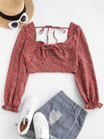 ZAFUL Ditsy Print Knotted Smocked Tie Blouse - Red L