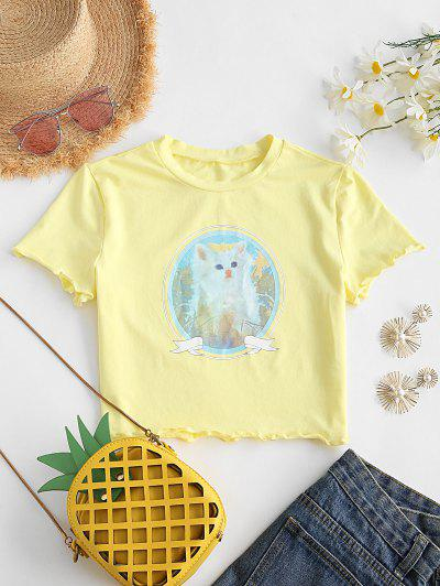 Cat Graphic Lettuce Trim Cropped Tee - Yellow M