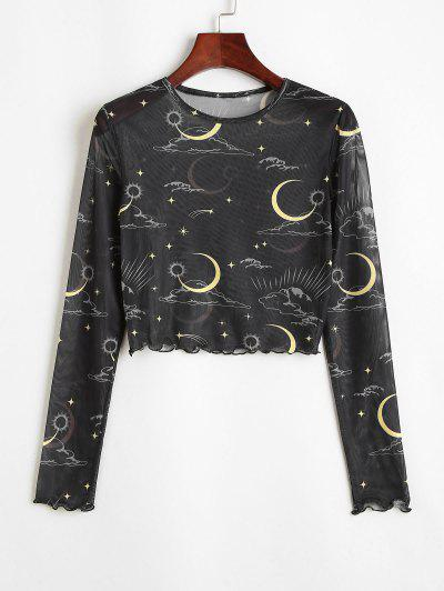 Cropped Moon Star Y2K Sheer Mesh Tee - Black M