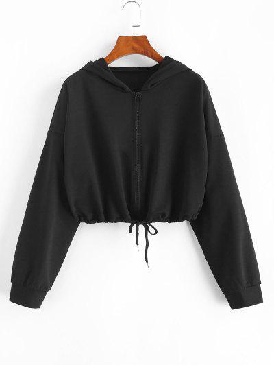 Drawstring Hem Zip Up Cropped Hoodie - Black Xl