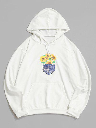 Sunflower Galaxy Print Pouch Pocket Hoodie - White S