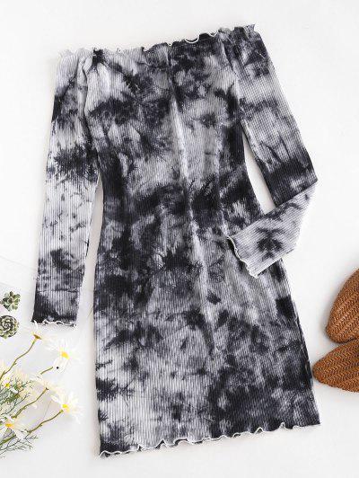 Vestido De Alface Guarnição Laço Com Nervuras - Cinza Xl