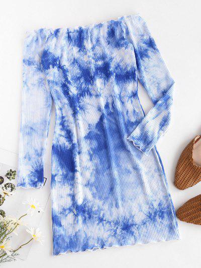 Tie Dye Lettuce-trim Ribbed Off The Shoulder Dress - Blue L