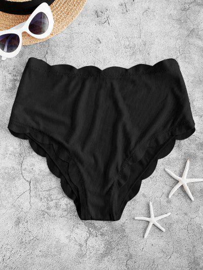 ZAFUL Bas De Bikini Côtelé Festonné à Coupe Haute  - Noir L