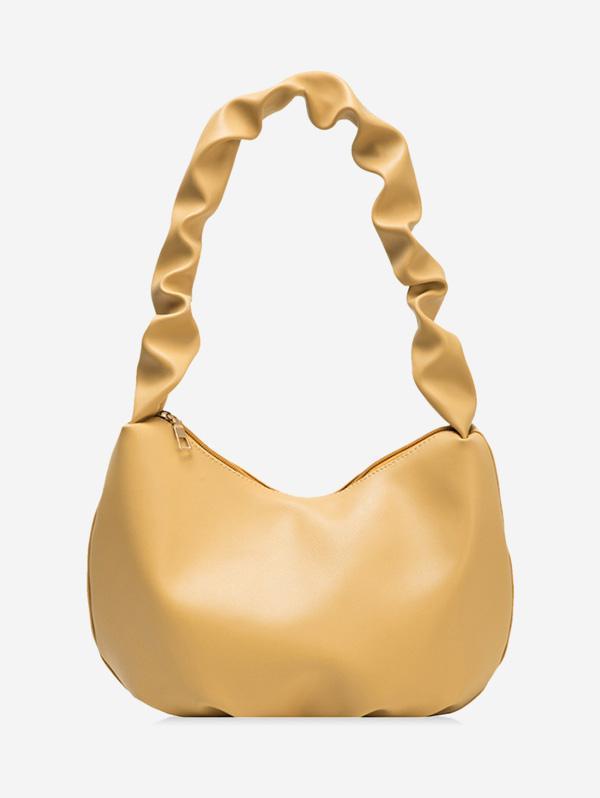 Wrinkle Handle Leather One Shoulder Bag