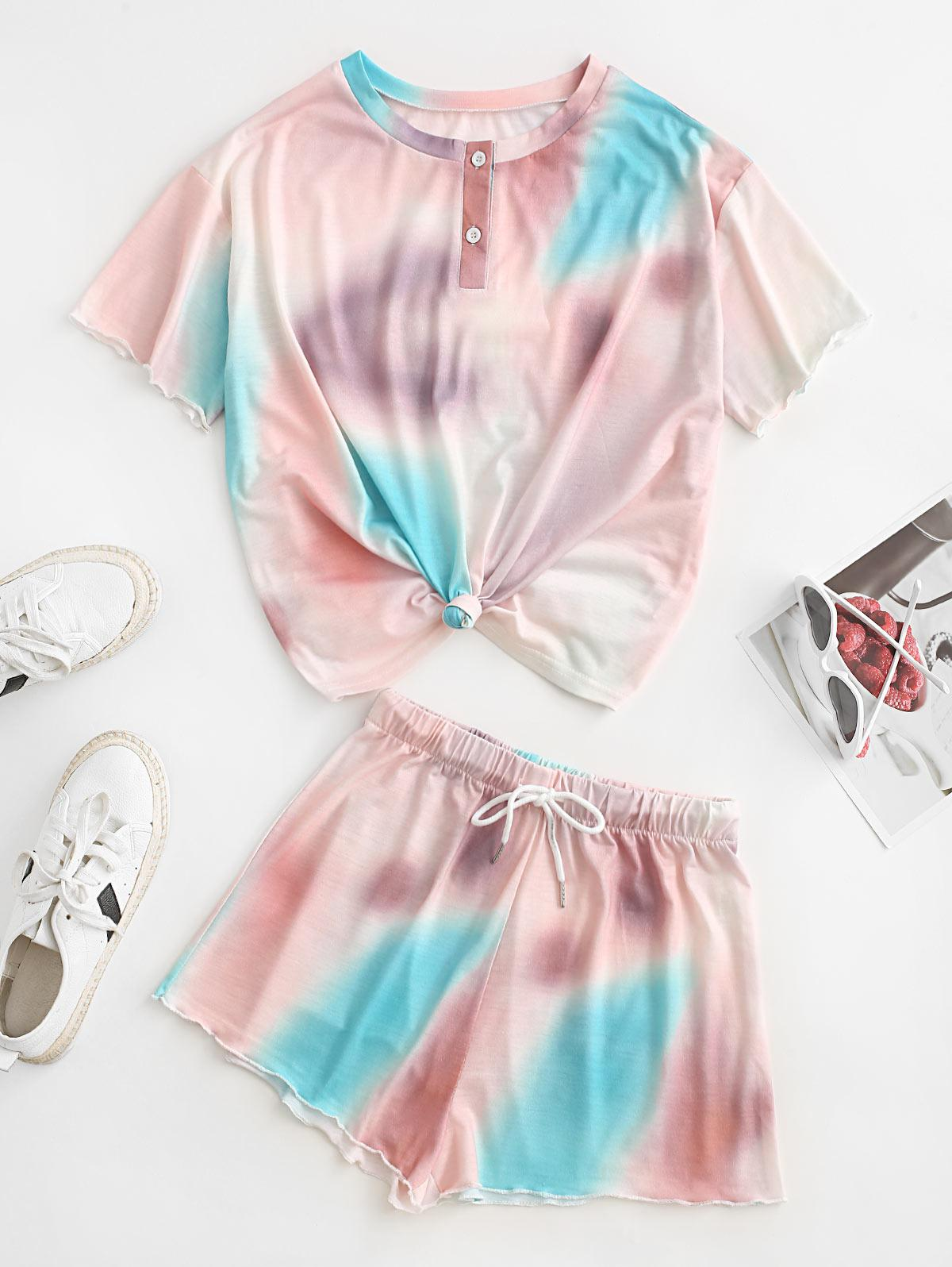 ZAFUL Tie Dye Drop Shoulder Henley Drawstring Shorts Set