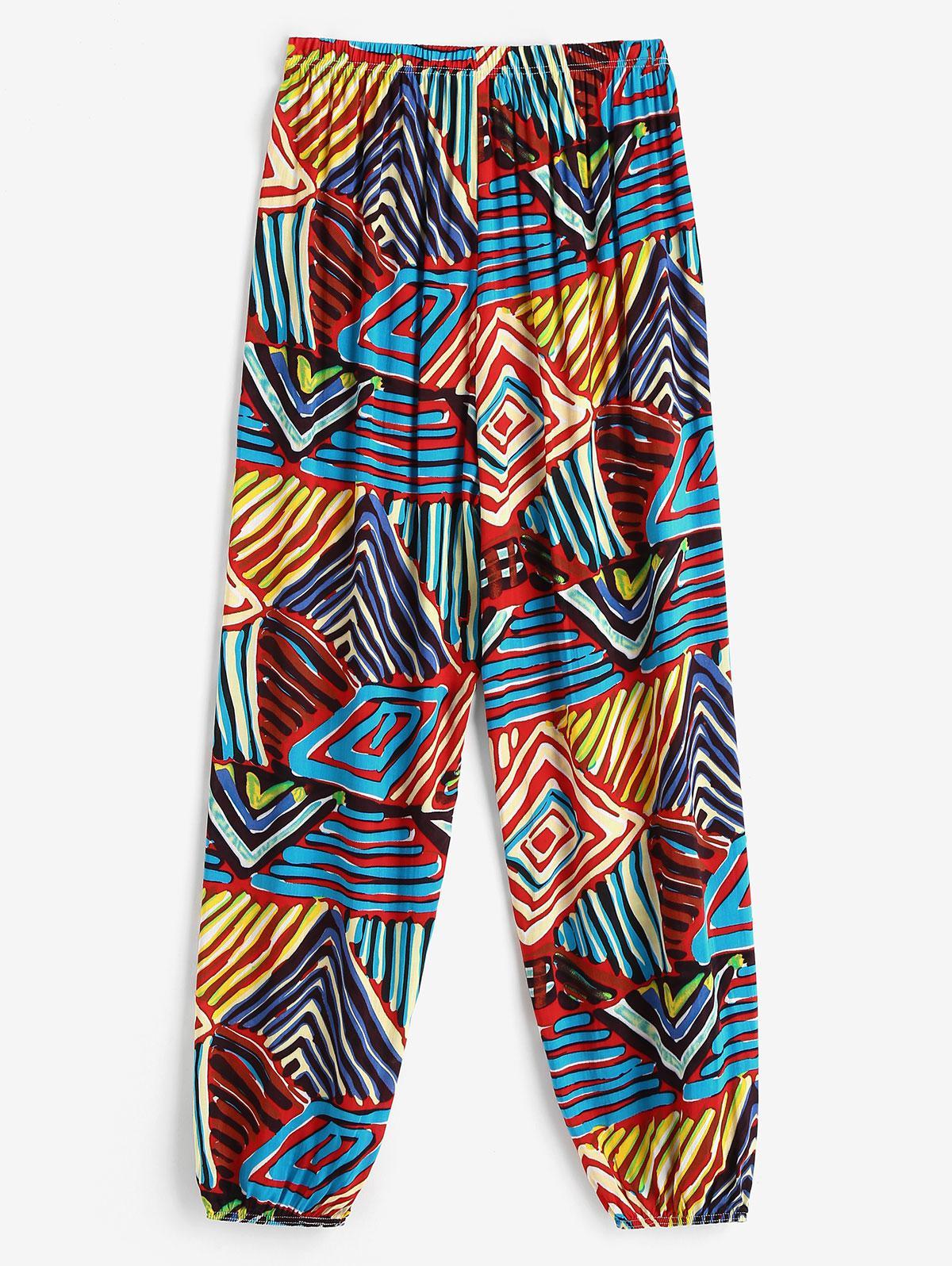 High Waisted Colorful Printed Jogger Pants
