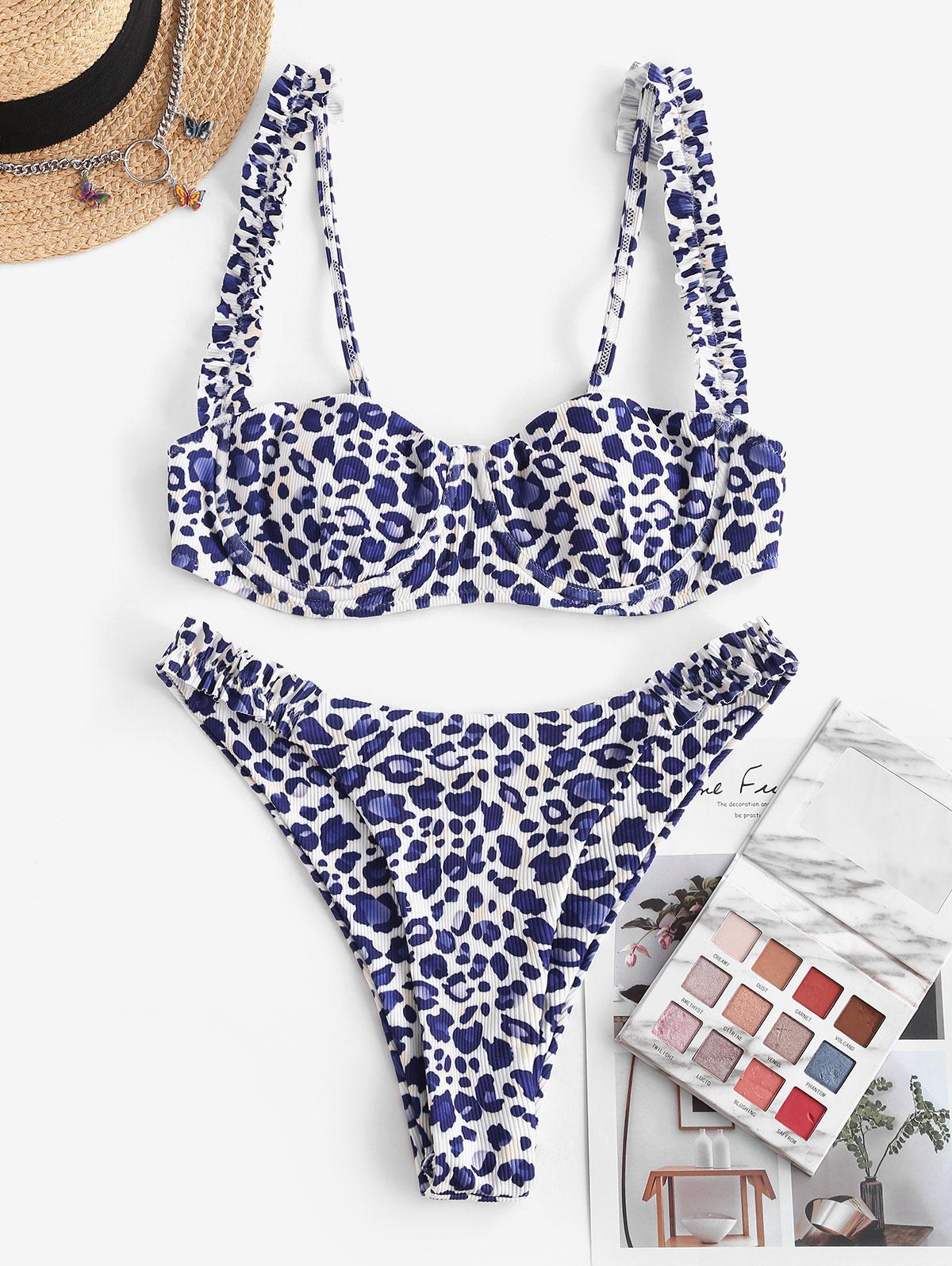 ZAFUL Ribbed Leopard Frilled Underwire Balconette Bikini Swimwear