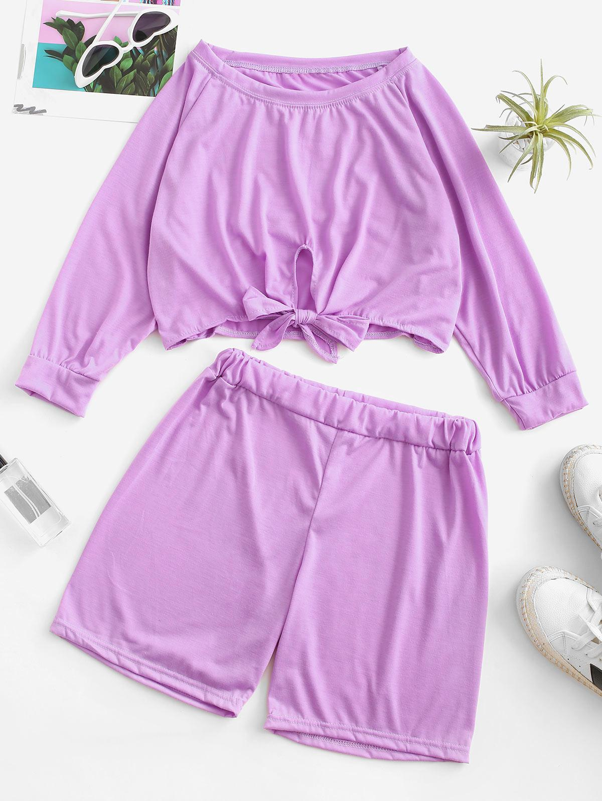 Raglan Sleeve Tie Hem Cropped Two Piece Set