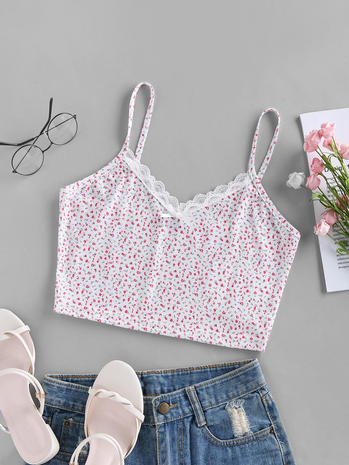 ZAFUL Ribbed Ditsy Print Lace Insert Bowknot Camisole