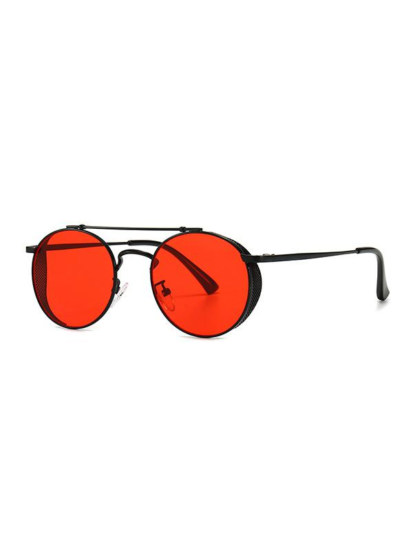 Metal Bar Hollow Round Sunglasses