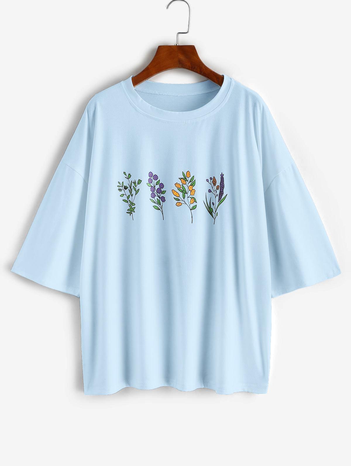 Floral Print Drop Shoulder Oversized Boyfriend Tee