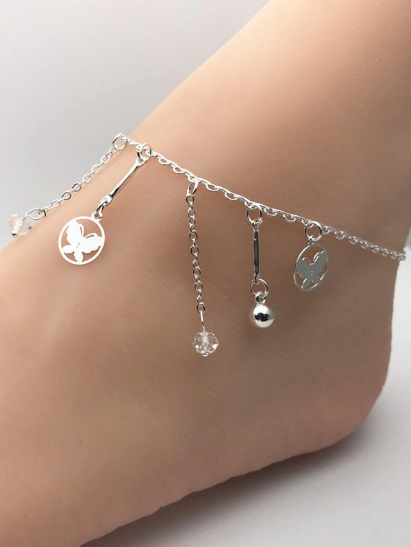 Faux Crystal Butterfly Ball Shape Charm Anklet