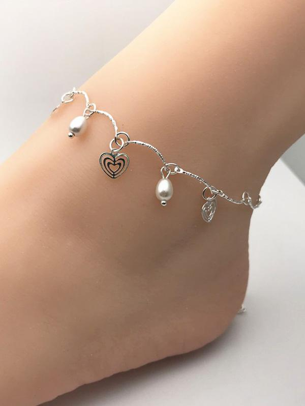 Faux Pearl Heart Shape Charm Anklet
