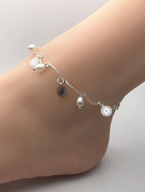 Faux Pearl Flower Charm Chain Anklets