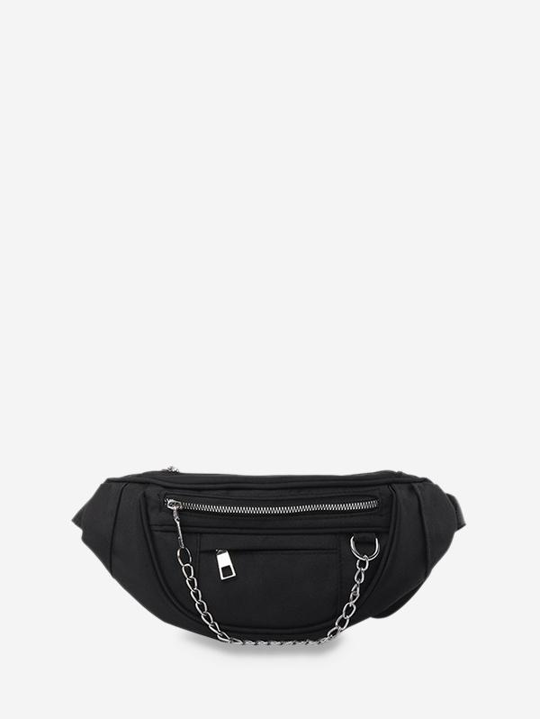 Chain Zipper Crossbody Chest Bag