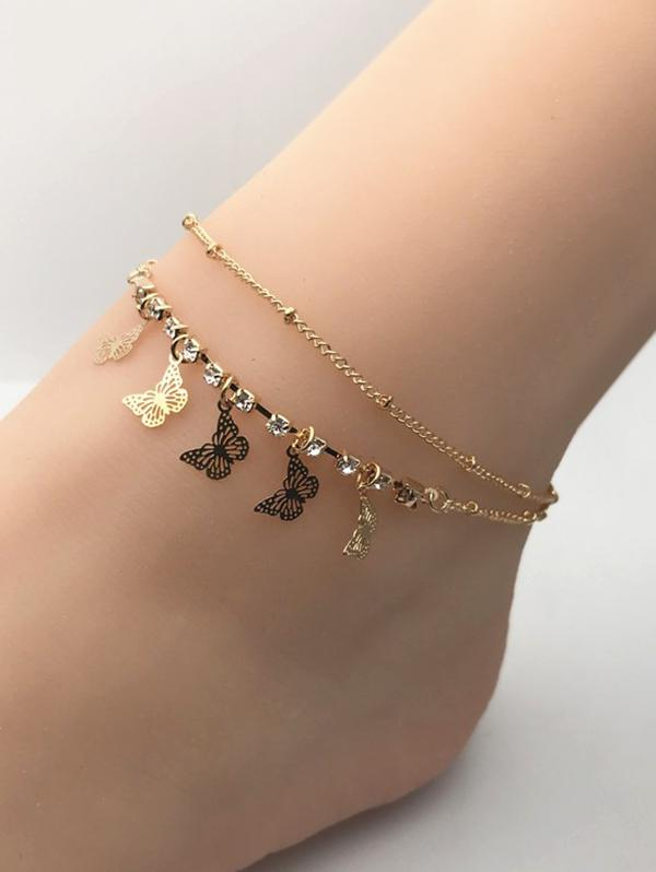 Butterfly Charm Rhinestone Double Layer Chain Anklets