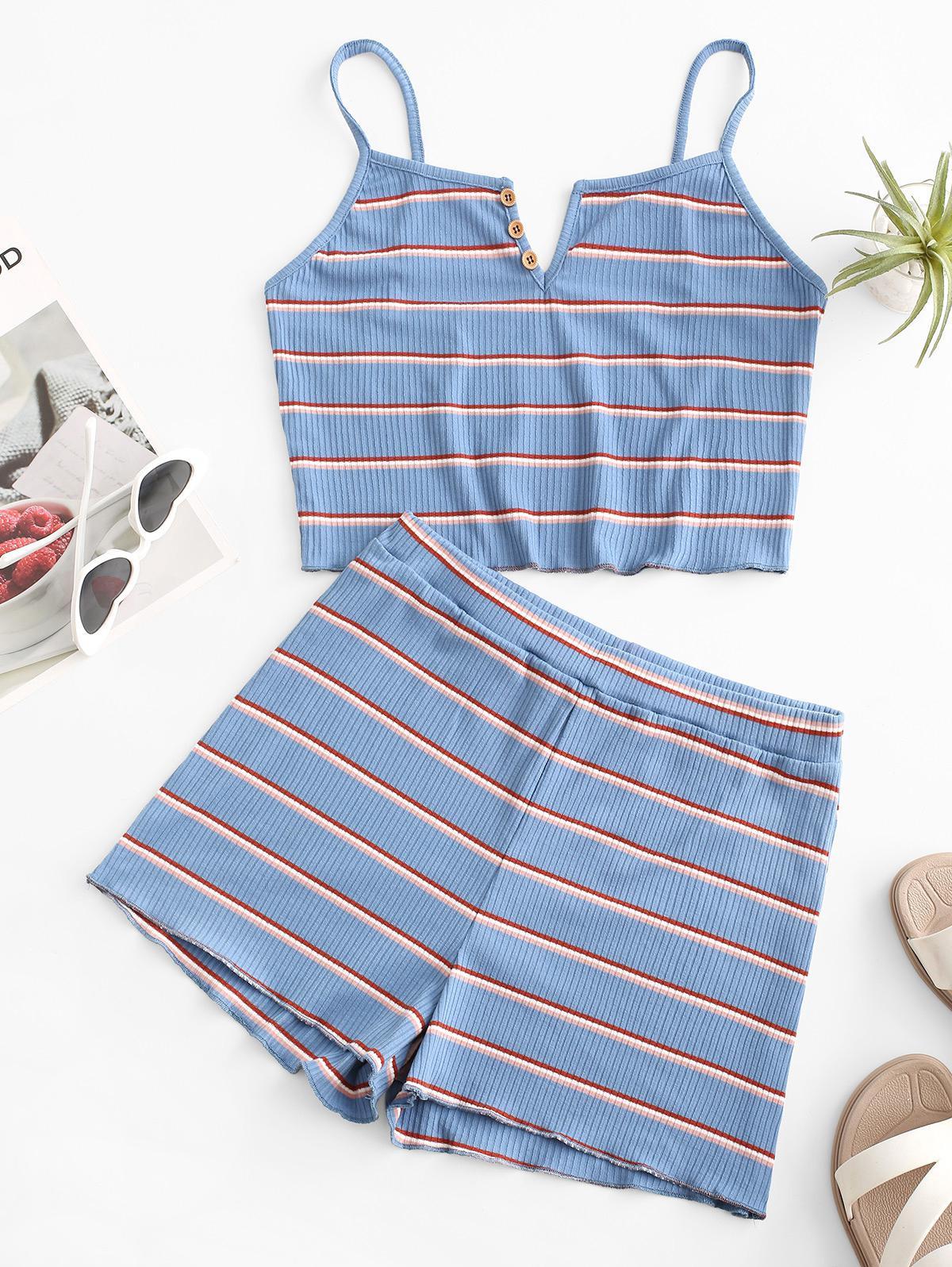 ZAFUL Striped Ribbed V Notch Cami Two Piece Set