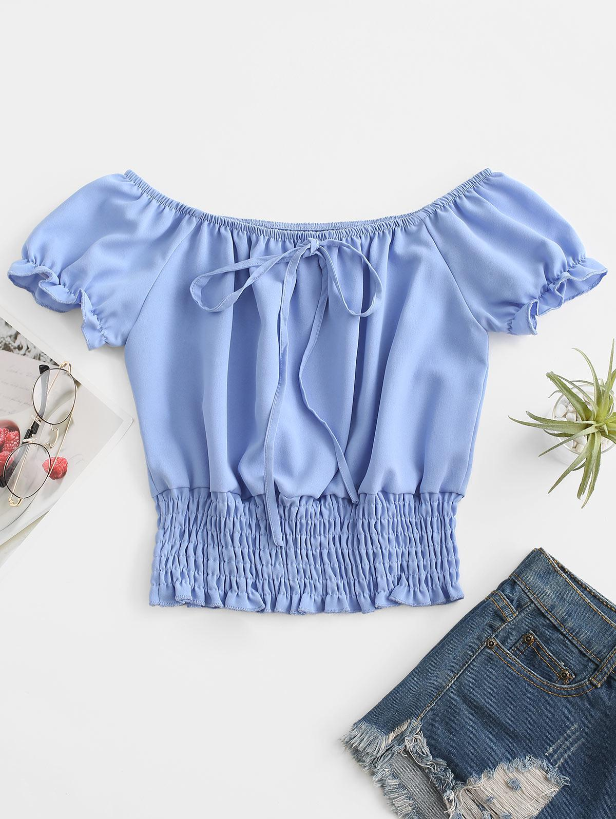 ZAFUL Puff Sleeve Smocked Tie Frilled Blouse