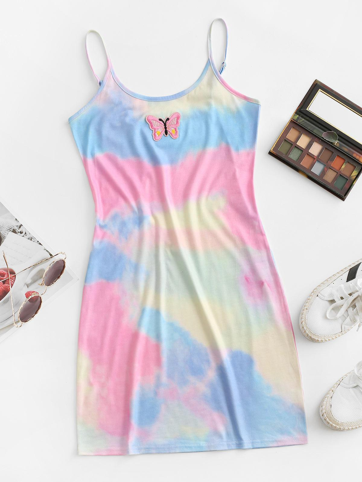 ZAFUL Tie Dye Butterfly Applique Bodycon Cami Dress