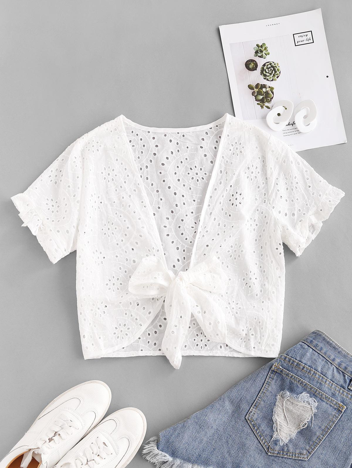 Eyelet Ruffled Sleeve Tie Front Cropped Blouse