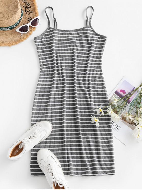 Striped Ribbed Bodycon Cami Dress - الرمادي الداكن M