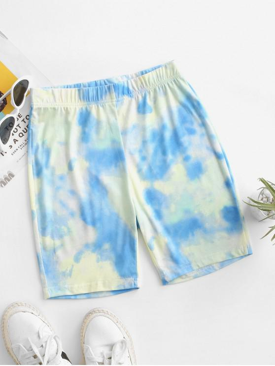affordable High Waisted Tie Dye Cycling Shorts - LIGHT BLUE S