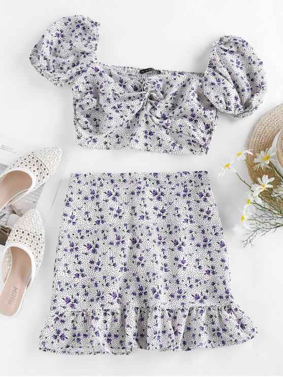 affordable ZAFUL Floral Polka Dot Smocked Twisted Mermaid Skirt Set - LIGHT PURPLE S