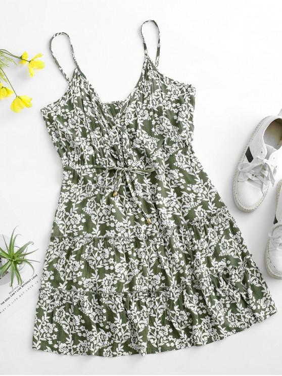 womens Cami Tiny Floral Drawstring Surplice Dress - DEEP GREEN L