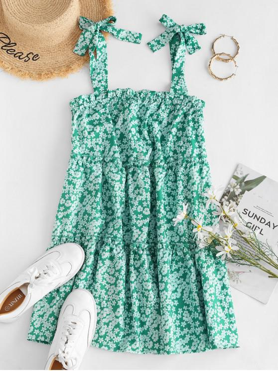 outfits Tie Ditsy Print Tiered Trapeze Sundress - GREEN S