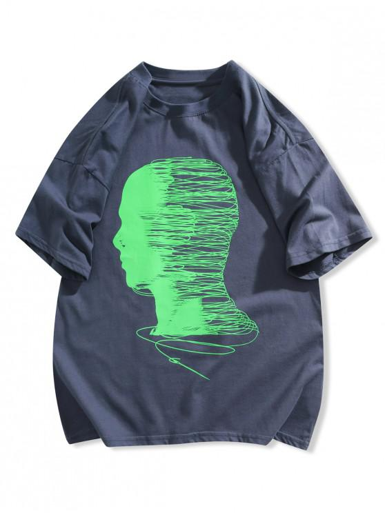 T-shirt de Manga Curta de Impressão Gráfica - Azul Escuro L