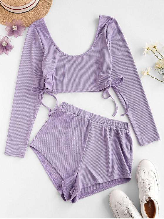 women's Cropped Cinched Side Ribbed Two Piece Set - PURPLE M