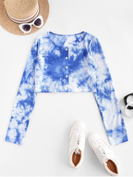 ladies ZAFUL Ribbed Button Up Tie Dye Tee - BLUE S