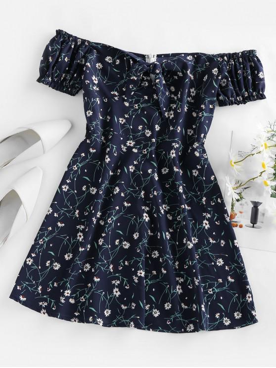 women ZAFUL Floral Tied Ruffle Off Shoulder Mini Dress - DEEP BLUE S