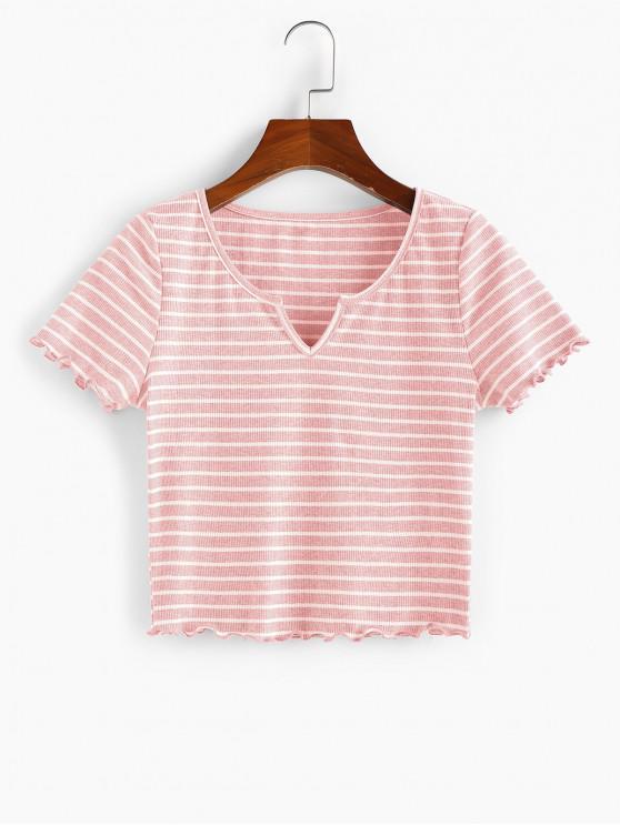 ZAFUL T-shirt Entalhado com Nervuras com Riscas Cortado Cortado - Rosa Claro XL