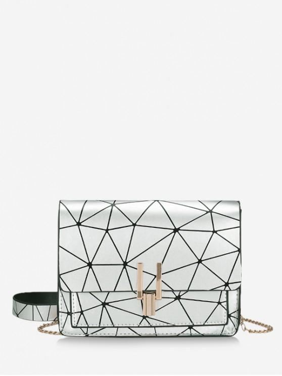 ladies Geometric Print Flap Chain Crossbody Bag - SILVER